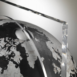 """Artico Black"" Floor Globe in Crystal and Marble"