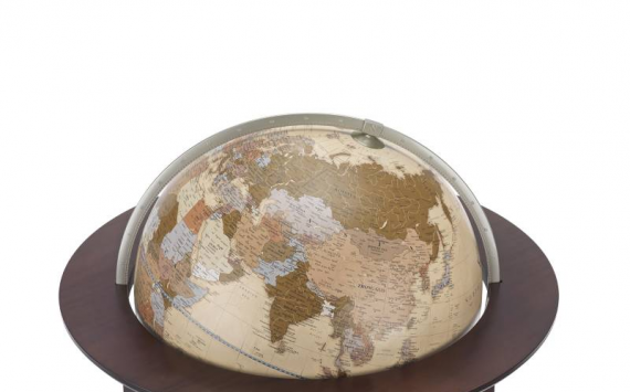 """Sirio Natural"" Large Globe From Walnut Wood Floor"