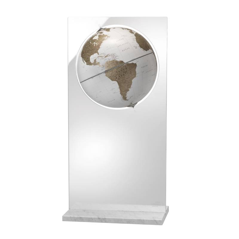 """Artico White"" Floor Globe in Crystal and Marble"
