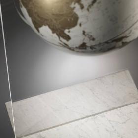 """""""Artico White"""" Mappamondo da terra in cristallo e marmo"""