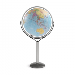 """Omega Skye Blue"" Floor globe with political cartography"