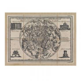 Mappa Planisfero Celeste Settentrionale e Meridionale in Tela Antica