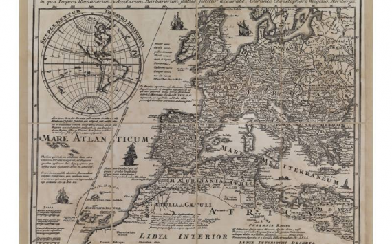 Mappa Europa del Weigelio in Tela Antica