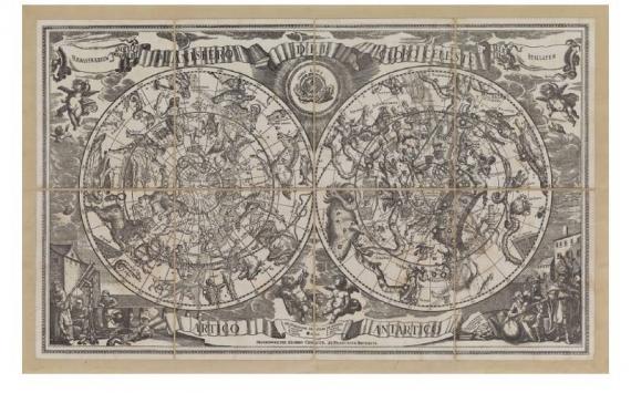 Mappa Planisfero del Globo Celeste in Tela Antica