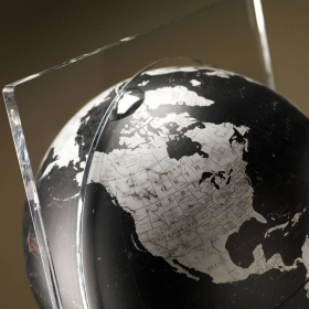 """Artico Black"" Floor Globe in Crystal and Marble"