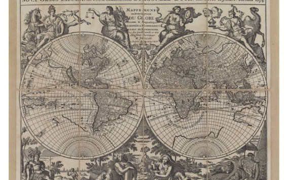 Mappa Planisfero Jailliot in Tela Antica