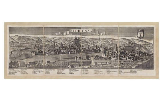 Mappa Veduta di Firenze in Tela Antica