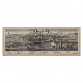 Mappa Veduta di Livorno in Tela Antica