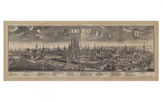 Mappa Veduta di Meyland - Milano in Tela Antica