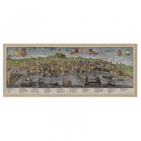 Mappa Veduta di Neapolis - Acquerellata in Tela Antica