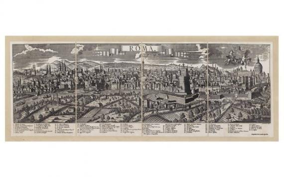 Mappa Veduta di Roma in Tela Antica