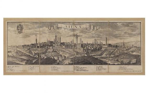 Mappa Veduta di Siena in Tela Antica