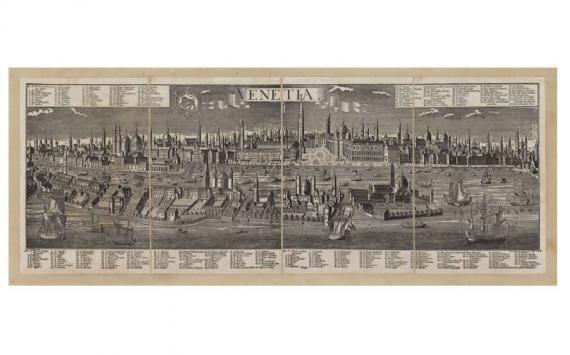 Mappa Veduta di Venezia in Tela Antica