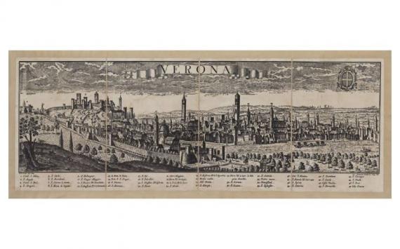 Mappa Veduta di Verona in Tela Antica