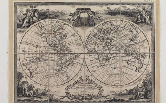 Mappa Planisfero Cassini Cap. Cook in Tela Antica